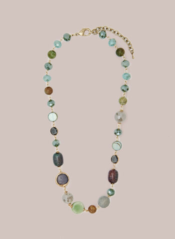 Multi-Colour Stone Necklace, Grey,  fall winter 2020, jewellery, accessories, necklace, beads, stones, multi-coloured, golden