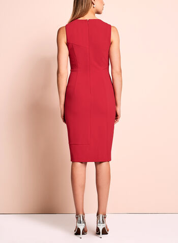 Ivanka Trump Scuba Zipper Trim Dress, Red, hi-res