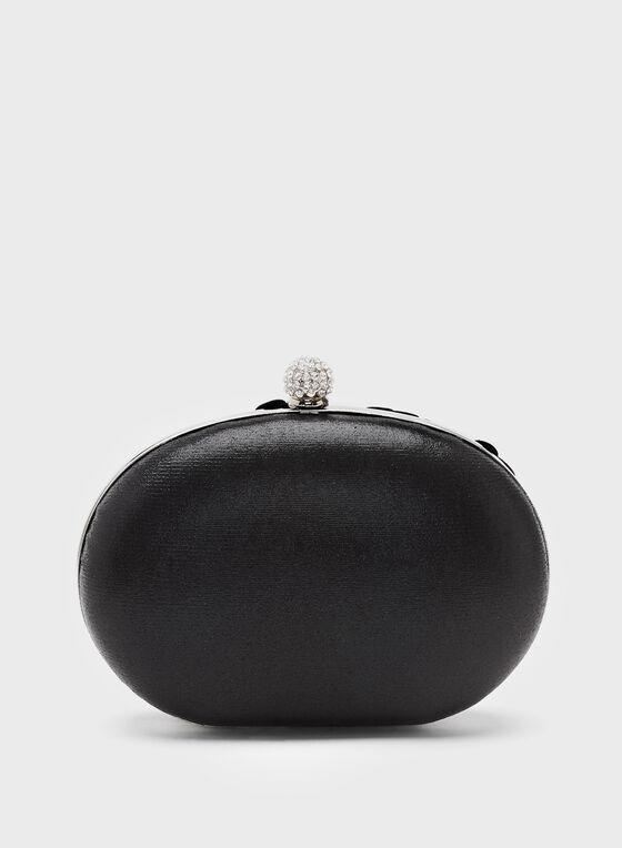 Pearl Embellished Satin Clutch, Black, hi-res