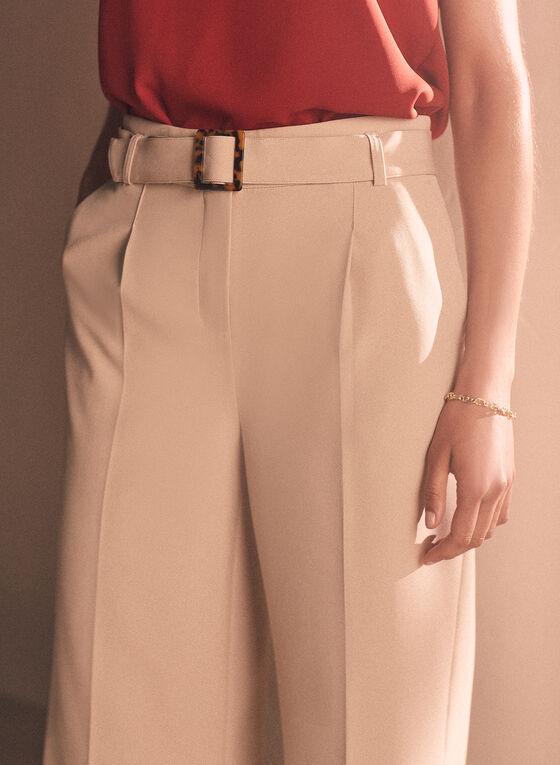 Pantalon gaucho ceinturé, Blanc cassé
