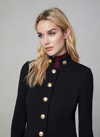 Redingote de style militaire, Noir, hi-res,  col montant, coupe évasée, manches longues, boutons métalliques, poches, automne hiver 2019