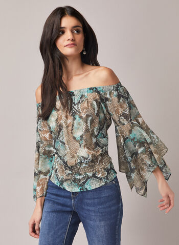 Snake Print Blouse, Green,  fall winter 2020, tops, blouses, top, blouse, snake print, animal print, short sleeves, cinched, holiday, holiday 2020, gift