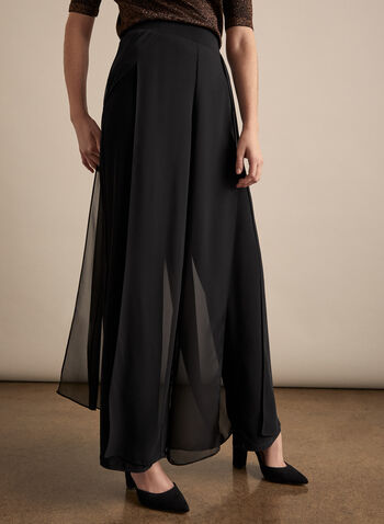 Wide Leg Chiffon Pants , Black,  legs, wide leg, pull-on, chiffon, stretchy, fall 2019, winter 2019