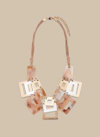 Collier à rectangles et triple cordon, Brun,  collier, rectangle, lucite, métal, rectangle, printemps été 2020
