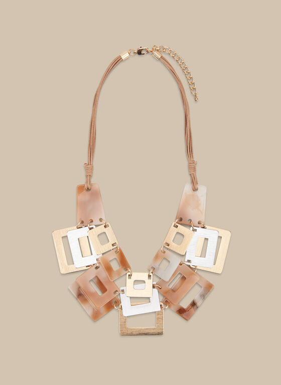 Collier à rectangles et triple cordon, Brun