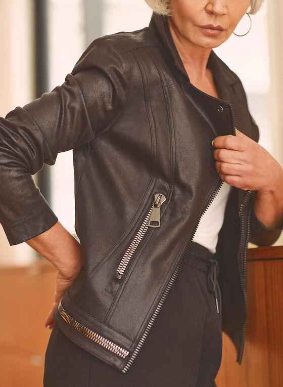 Vex - Veste à zips en faux cuir, Noir