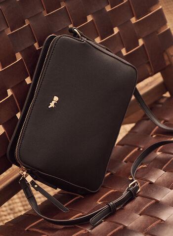 Rectangular Crossbody Bag, Black,  rectangular, camera bag, spring summer 2021, accessories, bag, shoulder bag, crossbody bag, leather, pockets, crest, purse