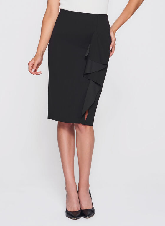 Ruffle Front Pencil Skirt , Black, hi-res