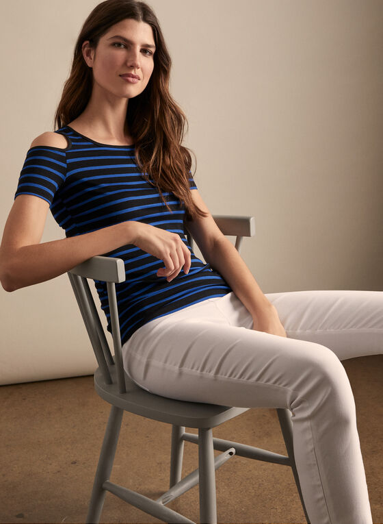 Striped Cold-Shoulder Top, Blue