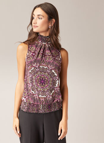 Paisley Print Smocked Detail Top, White,  top, sleeveless, paisley, smocked, fall winter 2020