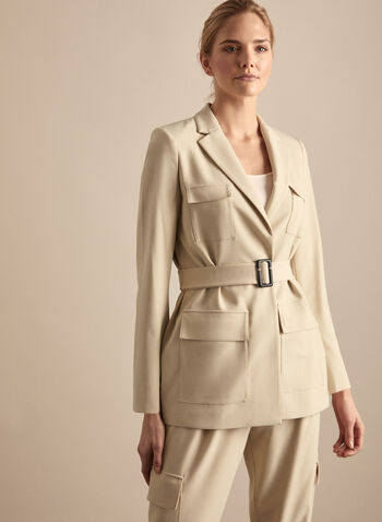 Vince Camuto - Belted Jacket, Brown,  Vince Camuto, jacket, belted jacket, long sleeves, utilitarian, tailored, spring 2020, summer 2020