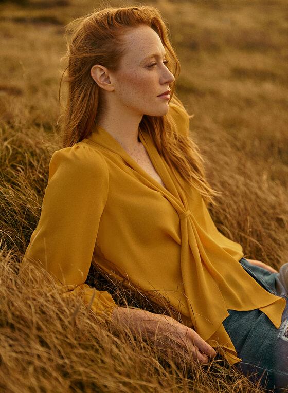 Foulard Collar Crepe Blouse, Yellow