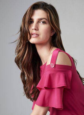 Ruffle Sleeve Top, Multi, hi-res,  fall winter 2019, jersey fabric, boat neck, cold shoulder