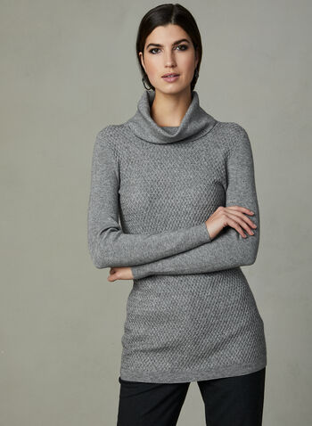 Cowl Knit Sweater, Grey, hi-res