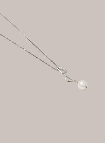 Twist & Pearl Pendant Necklace, Silver,  fall winter 2020, necklace, jewellery, accessories, pearl, crystal, chain, metallic, silver