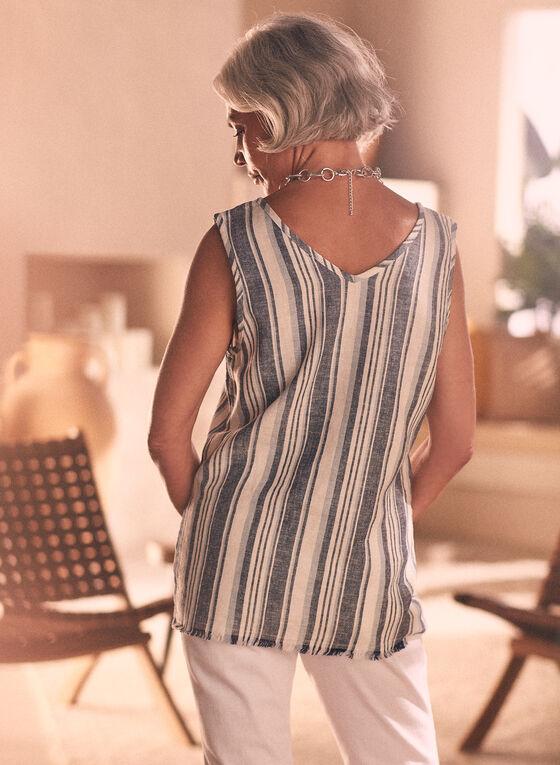 Striped Linen Blouse, Grey
