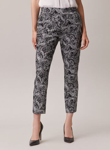 Chapter One - Paisley Print Pull-On Capris, Black,  capris, pull-on, paisley, slim leg, bengaline, spring summer 2020