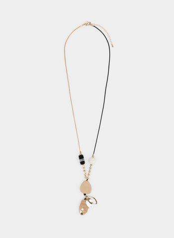 Cord & Chain Pendant Necklace , Black,  necklace, cord, chain, lucite, metal, fall 2019