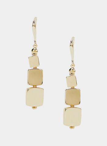 Boucles d'oreilles à pendants carrés, Or, hi-res