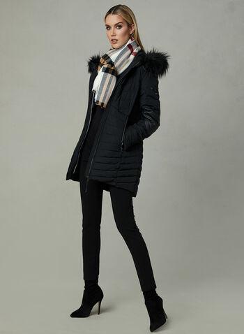 Novelti - Manteau matelassé avec simili cuir, Noir, hi-res