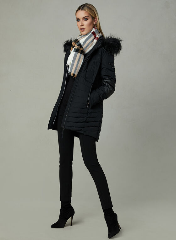 Novelti - Faux Leather Trim Quilted Coat, Black, hi-res