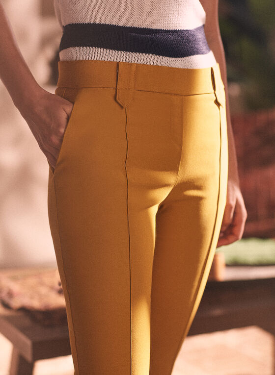 Pantalon jambe droite à enfiler, Jaune