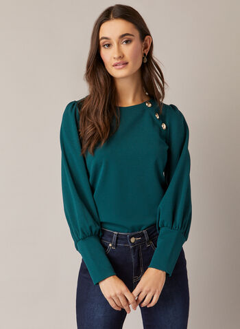 Button Detail Ballon Sleeve Top, Green,  fall winter 2020, balloon sleeves, top, jersey, boat neck, buttons made in canada