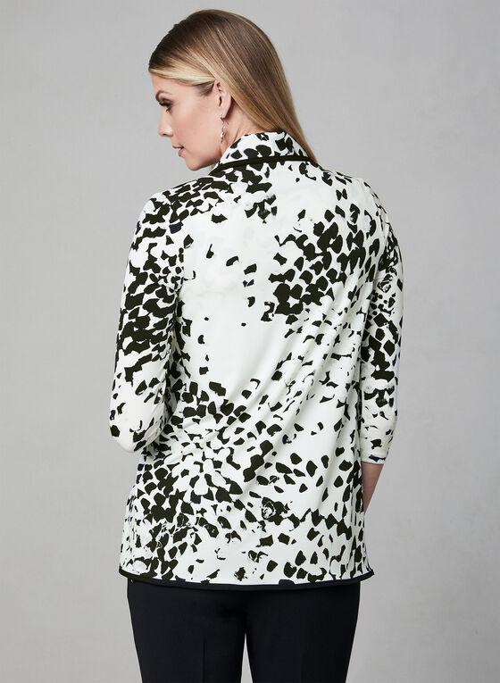 Cardigan contrastant à motif abstrait, Blanc