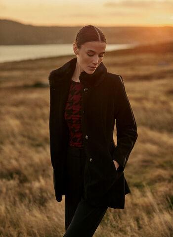 Faux Fur Wool Blend Coat, Black,  fall winter 2021, coat, outerwear, wool, wool blend, faux fur, collared, button front, long sleeve, pockets, asymmetric, wool blend, high-low, warm
