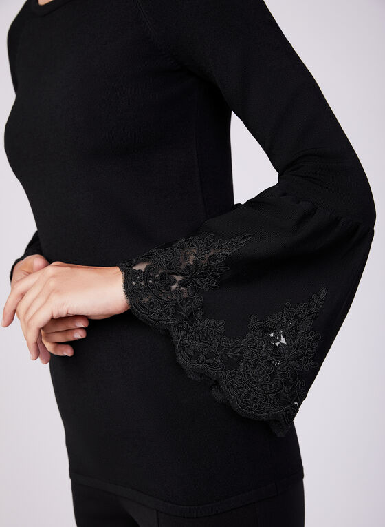 Bell Sleeve Knit Sweater, Black, hi-res