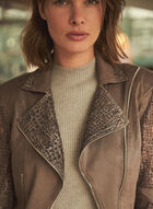 Joseph Ribkoff - Zipper Detail Moto Jacket, Brown