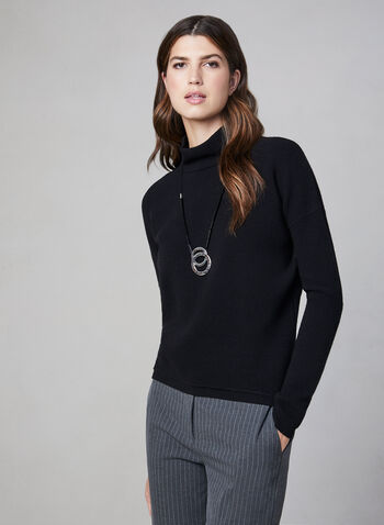 Ribbed Print Zipper Detail Sweater, Black, hi-res,  turtleneck sweater, ribbed knit, fall 2019