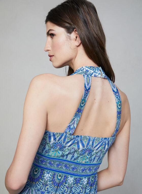 Mandala Print Maxi Dress, Blue, hi-res