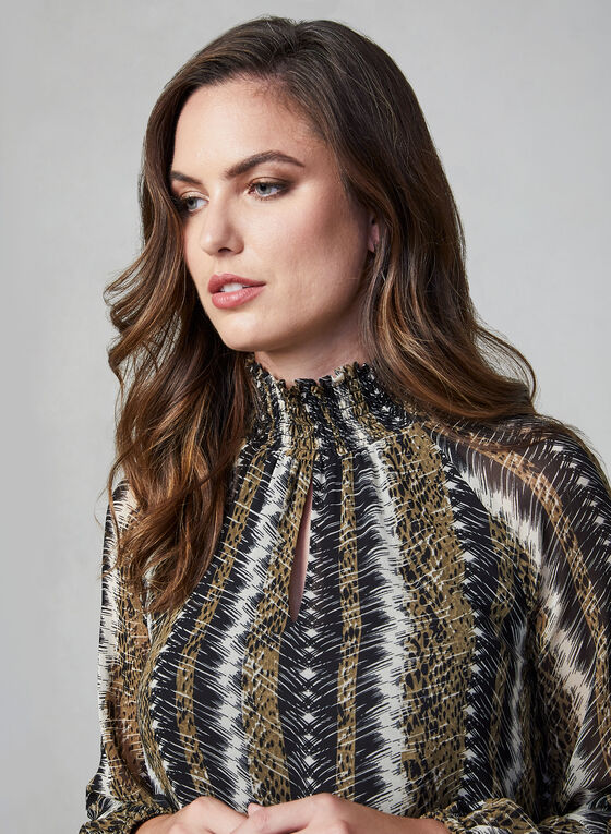 Ruched Collar Snake Print Top , Green