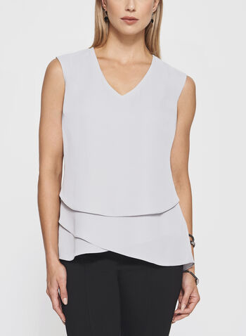 Sleeveless Triple Layer Blouse, Silver, hi-res
