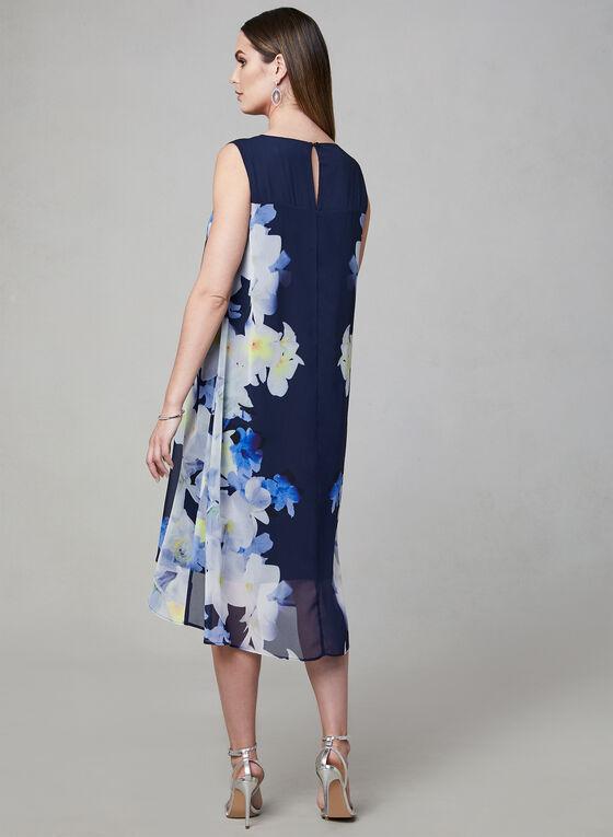 Floral Print Capelet Dress, Blue, hi-res