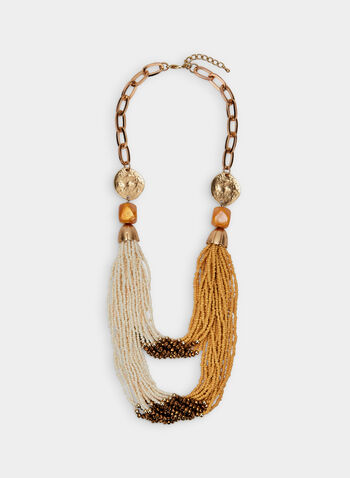 Multi-Row Beaded Necklace, Gold, hi-res