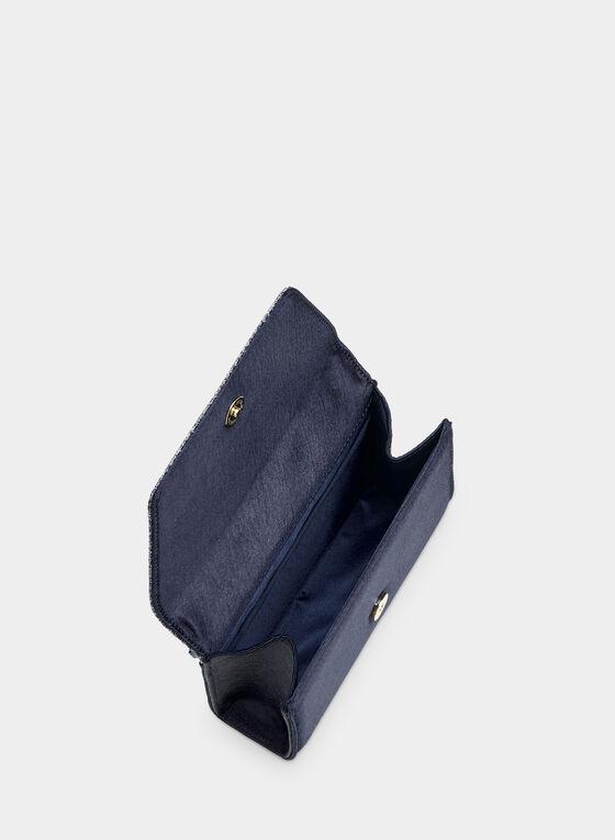 Pochette trapèze à rabat pailleté, Bleu