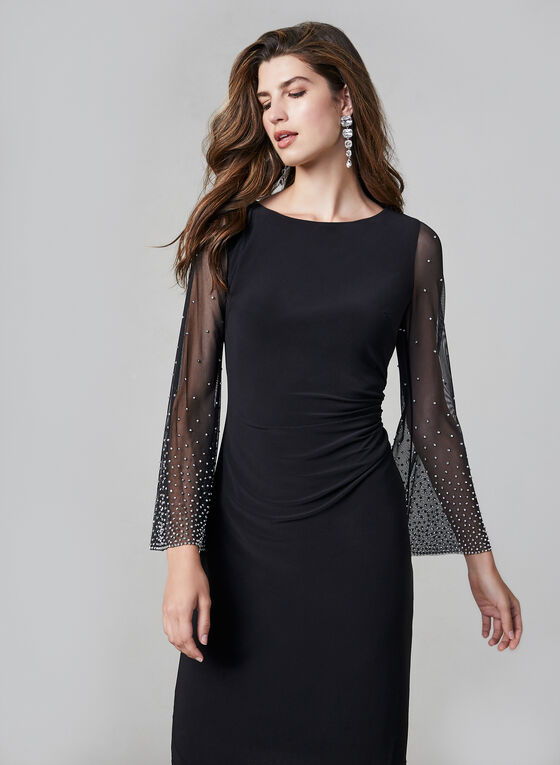 Cachet – Stud Detail Mesh Sleeve Dress, Black
