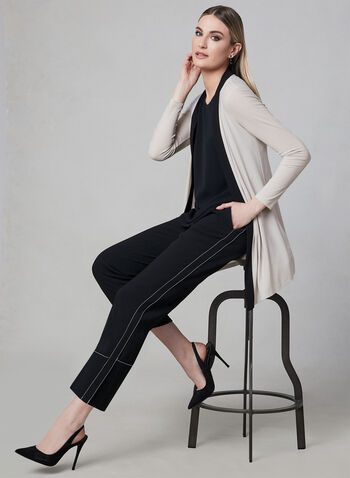 Long Sleeve Open Front Cardigan, Off White, hi-res