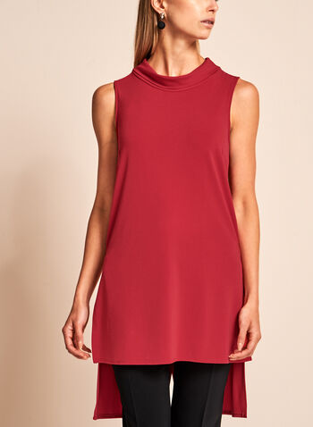 Cowl Neck High-Low Tunic, Red, hi-res