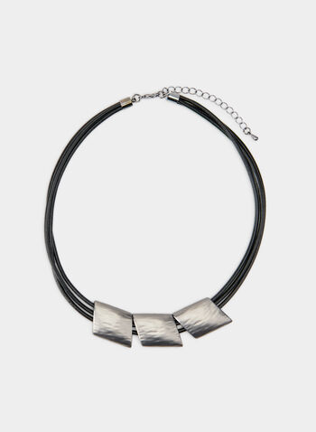 Geometric Pendant Necklace, Grey, hi-res,  choker, diamond, cord, adjustable, fall 2019, winter 2019