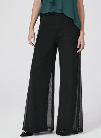Frank Lyman - Pull-On Wide Leg Mesh Pants, Black, hi-res