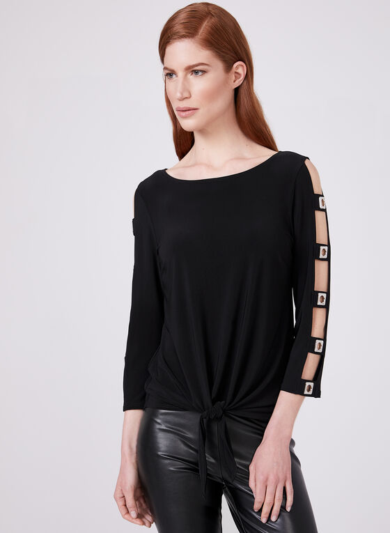 Frank Lyman - Cold Shoulder Cutout Top, Black, hi-res