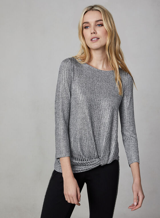 Ribbed Metallic Long Sleeve Top, Grey
