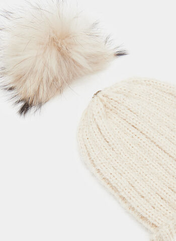 Fur Pompom Pulled Yarn Tuque, Brown, hi-res