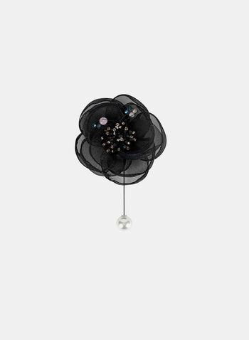 Floral Brooch , Black, hi-res
