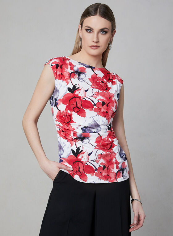 Floral Print Jersey Top, Red, hi-res