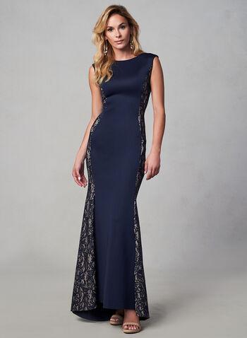 Eliza J - Robe de soirée à effet dentelle  , Bleu,  automne hiver 2019, robe de soirée, dentelle, néoprène, coupe sirène