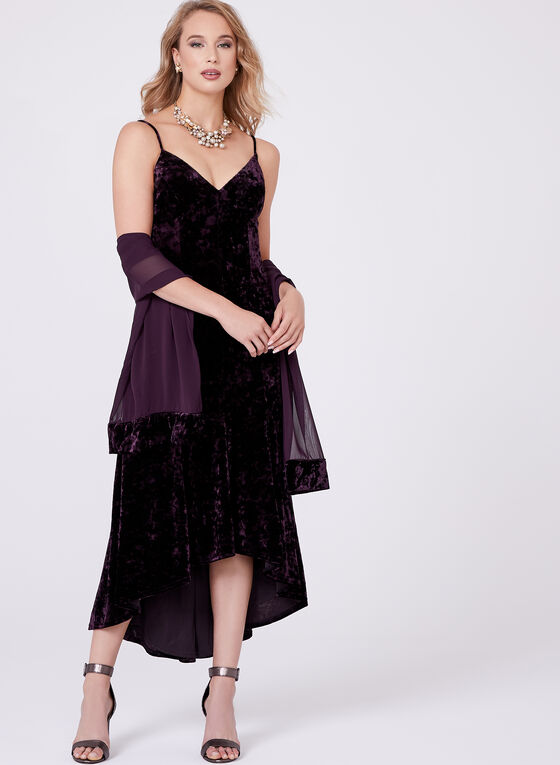 High Low Hem Velvet Dress, Purple, hi-res